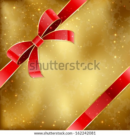 Grunge golden card with red holiday bow, illustration.