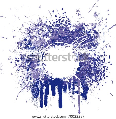 Grunge graphic frame with splatters, drops and stains - stock vector