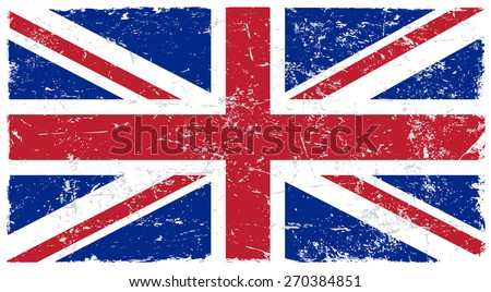Grunge Great Britain flag.British flag with grunge texture.Vector template.  - stock vector