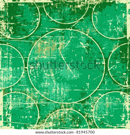 Grunge green circles abstract background