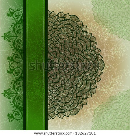 Grunge green greeting card with hand drawn circular floral ornament. Eps10 - stock vector