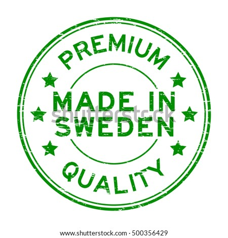 Grunge green premium quality made in Sweden rubber stamp