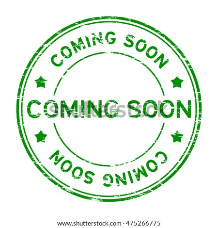 Grunge green round coming soon rubber stamp