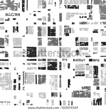 Grunge grid black white and grey texture. Ink brush vector illustration background