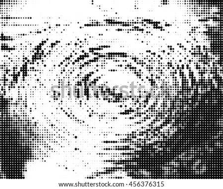 Grunge halftone distress dots background. Vortex texture. Vector and illustration.  - stock vector