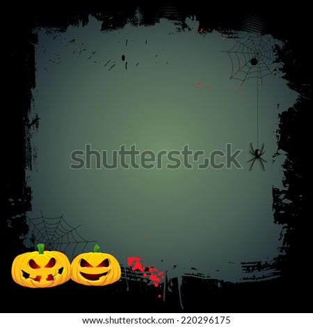 Grunge Halloween background with pumpkins and hanging spider - stock vector