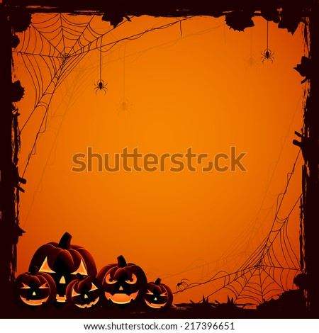 Grunge Halloween background with pumpkins and spiders, illustration. - stock vector