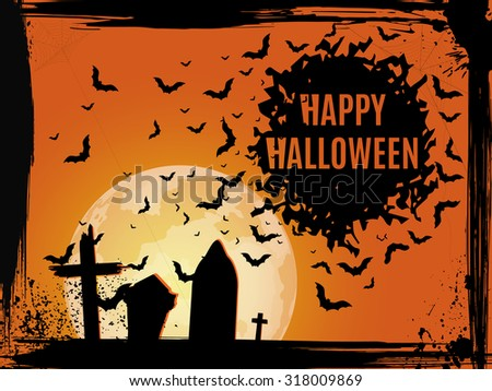Grunge Halloween cemetery background. Happy Halloween - stock vector