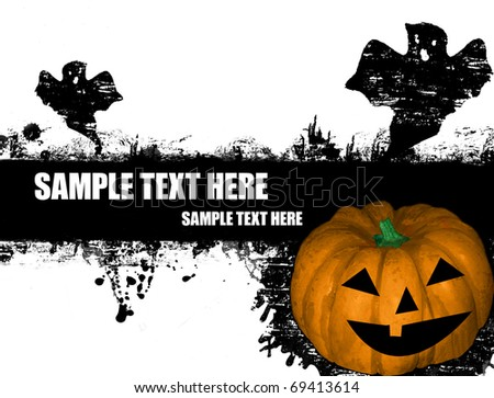 grunge Halloween poster with pumpkin and ghost on black and white,vector illustration