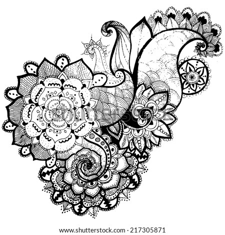 Grunge Hand-Drawn Abstract Henna Mehndi Flowers and Paisley Doodle Vector Illustration Design Element. - stock vector