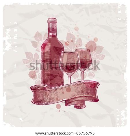 Grunge hand drawn wine bottle & glasses on vintage paper background - vector illustration - stock vector