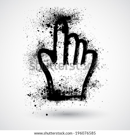 Grunge hand mouse symbol, vector illustration - stock vector