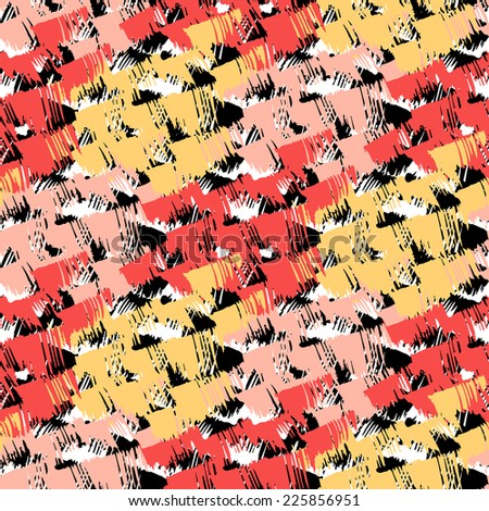 Grunge hand painted abstract pattern with bold textured brushstrokes in bold bright various colors, black, red,, orange, yellow, white. Seamless vector for winter fall fashion - stock vector