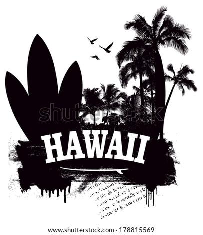 grunge hawaiian beach with surfboard and palms - stock vector