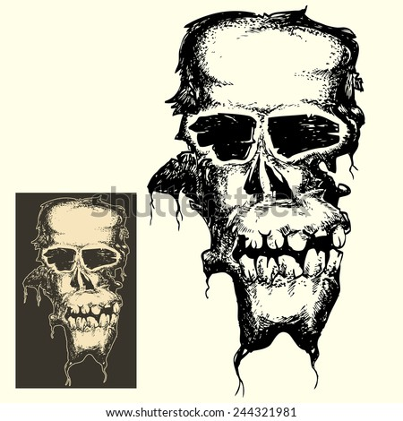 Grunge head skull in dark and inverted color isolated  - stock vector