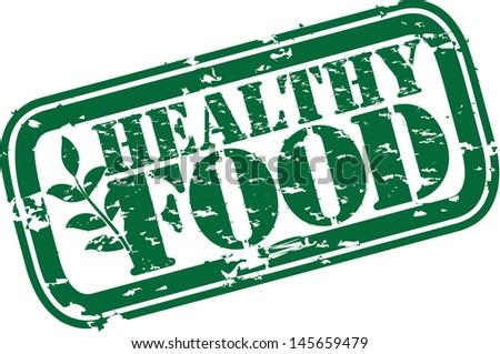 Grunge healthy food rubber stamp, vector illustration - stock vector