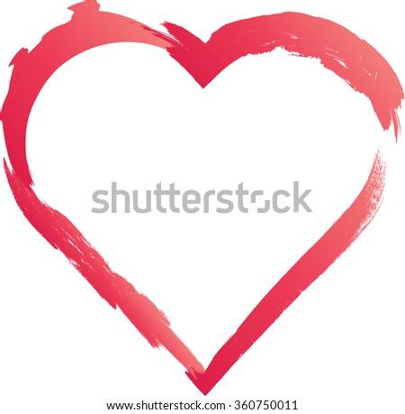 Grunge Heart . Red Heart . Heart Shape. Distressed Heart . Heart Texture. Valentine's Day Heart . Heart Background . Brush Stroke Heart . Vector Heart . Love Heart . - stock vector