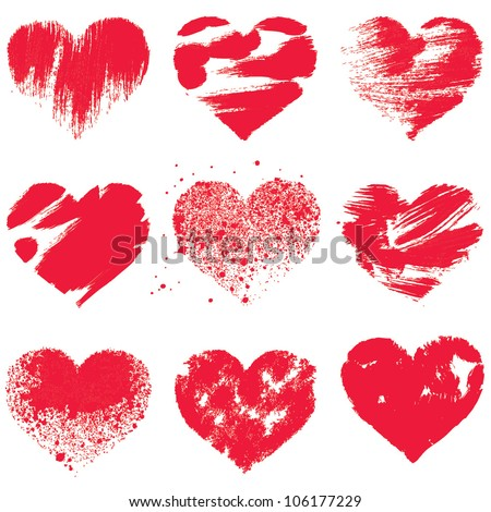 Grunge hearts on white background. Vector set - stock vector