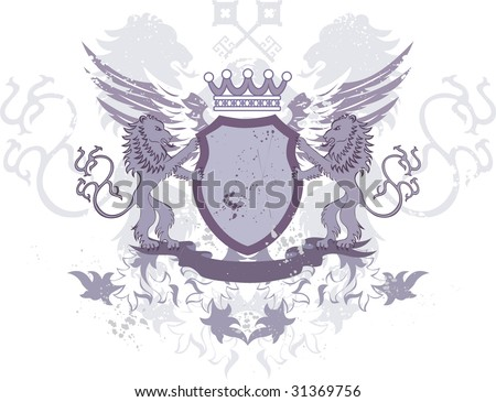 Grunge heraldic shield with lions and keys