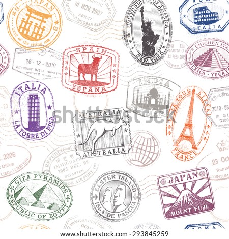 Grunge hi quality vector seamless texture pattern with monuments ad famous landmarks from all over the world - stock vector