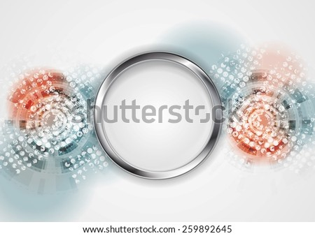 Grunge hi-tech abstract background with metal circle. Vector design - stock vector