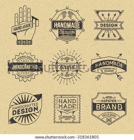 Grunge Hipster Retro Design Insignias Logotypes Set 10. Lo-Fi Vector Vintage Elements. Cardboard Texture. - stock vector