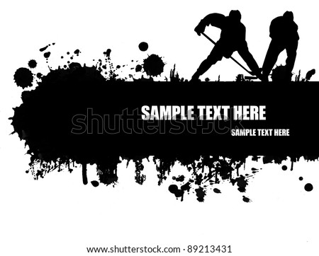 Grunge hockey poster with players  silhouette,vector illustration
