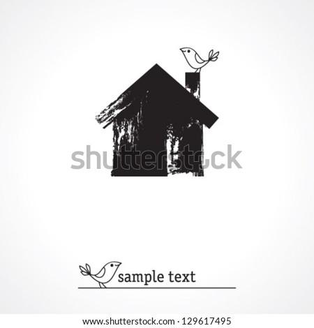 grunge house icon - stock vector