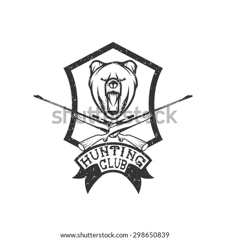 grunge hunting club crest with carbines and bear - stock vector
