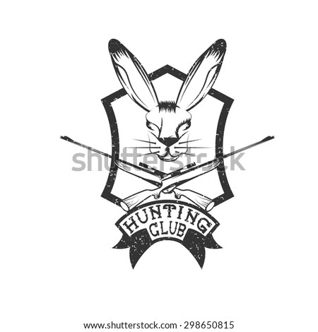 grunge hunting club crest with carbines and hare - stock vector