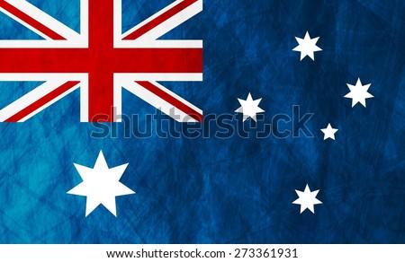Grunge illustration of Australian flag. Vector background - stock vector