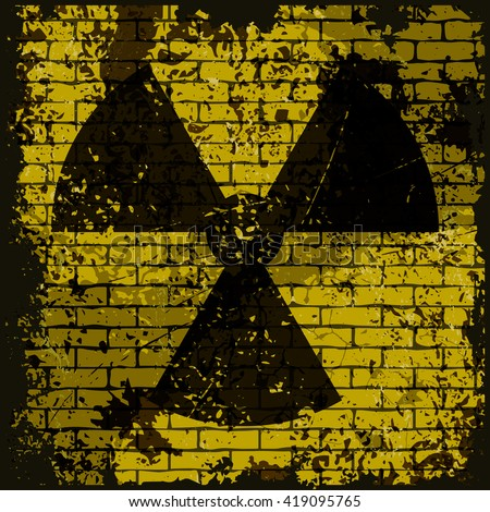 Grunge illustration of radioactive contamination sign. Vector sign on grungy yellow brick wall background. Fully editable eps10 file for poster, wallpaper, t-shirt design and your different projects. - stock vector