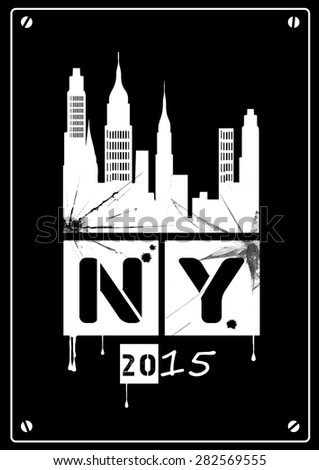 grunge image of new york. Black and White - stock vector