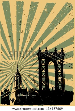 Grunge image of new york, poster, vector - stock vector