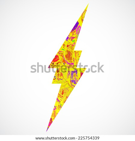 Grunge in color thunder Lighting. Caution, danger, voltage icon or sign. Brush stroke and paint. - stock vector