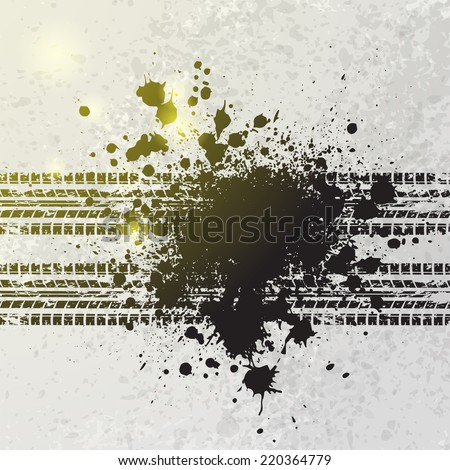 Grunge ink blots background with yellow shine. eps10 - stock vector