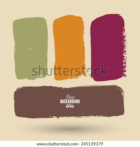 Grunge ink hand-drawn banners - stock vector