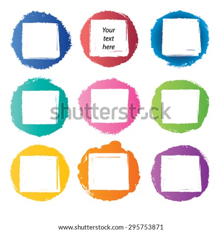Grunge ink hand-drawn frame set - grunge paint squares in circles Watercolor blot and stamp. Collection of simple design element. Eps 8. - stock vector