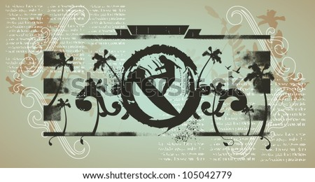 grunge ink shield with surf jump - stock vector