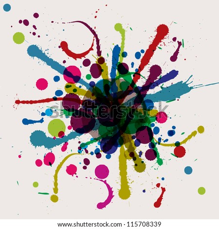 Grunge ink splat background blob. - stock vector