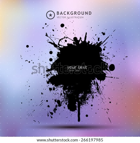 Grunge ink splat  with a rainbow colorful background - stock vector