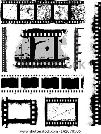 Grunge Inspired Film Strips and Elements. Use to add texture to photographs or existing vectors.  Ideal as overlay masks. - stock vector