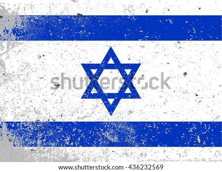 Grunge Israel flag.Vector illustration flag of Israel - stock vector