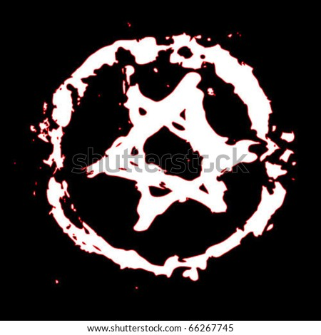Grunge Israeli star painted on a black wall with white paint - stock vector