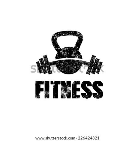 grunge kettlebell and barbell vector design template - stock vector