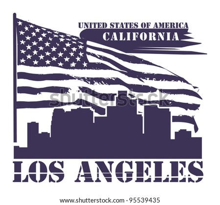 Grunge label with name of California, Los Angeles, vector illustration