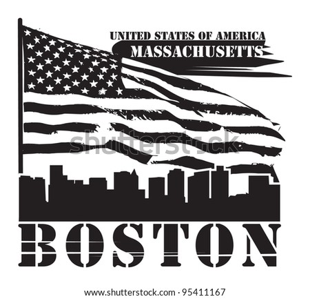 Grunge label with name of Massachusetts, Boston, vector illustration - stock vector