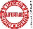 Grunge lifeguard rubber stamp, vector illustration - stock vector