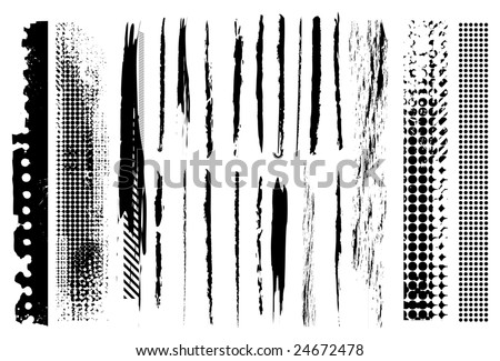 Grunge line brushes. Check my portfolio for more brushes - stock vector