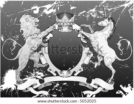 Grunge Lion and Unicorn Shield A grunge shield coat of arms element featuring a lion, unicorn and crown - stock vector